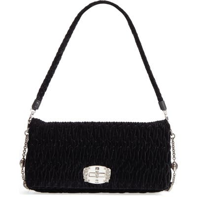 Miu Miu Medium Crystal Embellished Quilted Velvet Shoulder Bag - Black