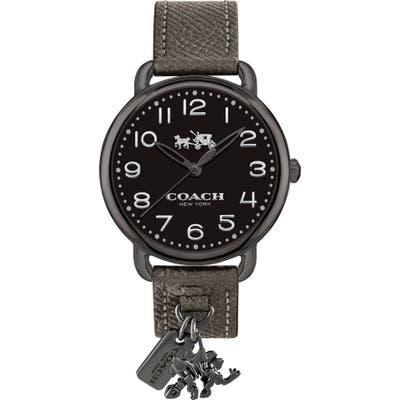 Coach Delancey Charm Detail Leather Strap Watch,