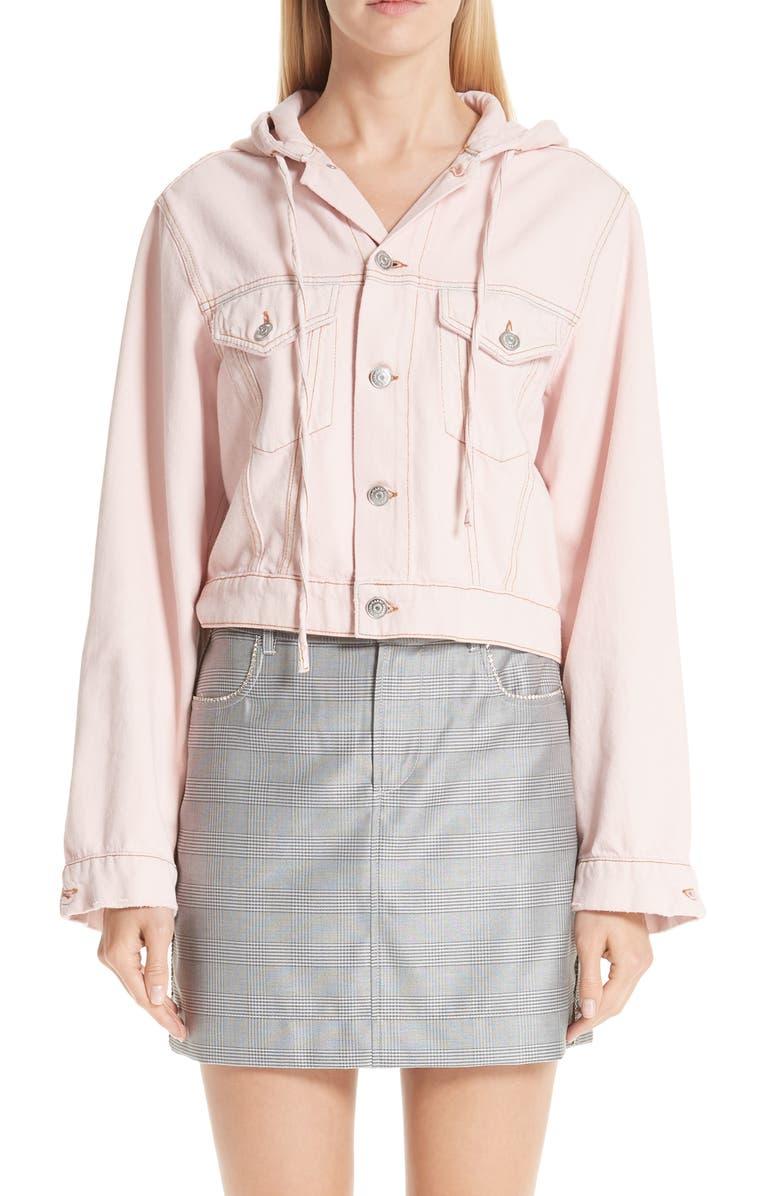 GANNI Washed Denim Jacket, Main, color, 650