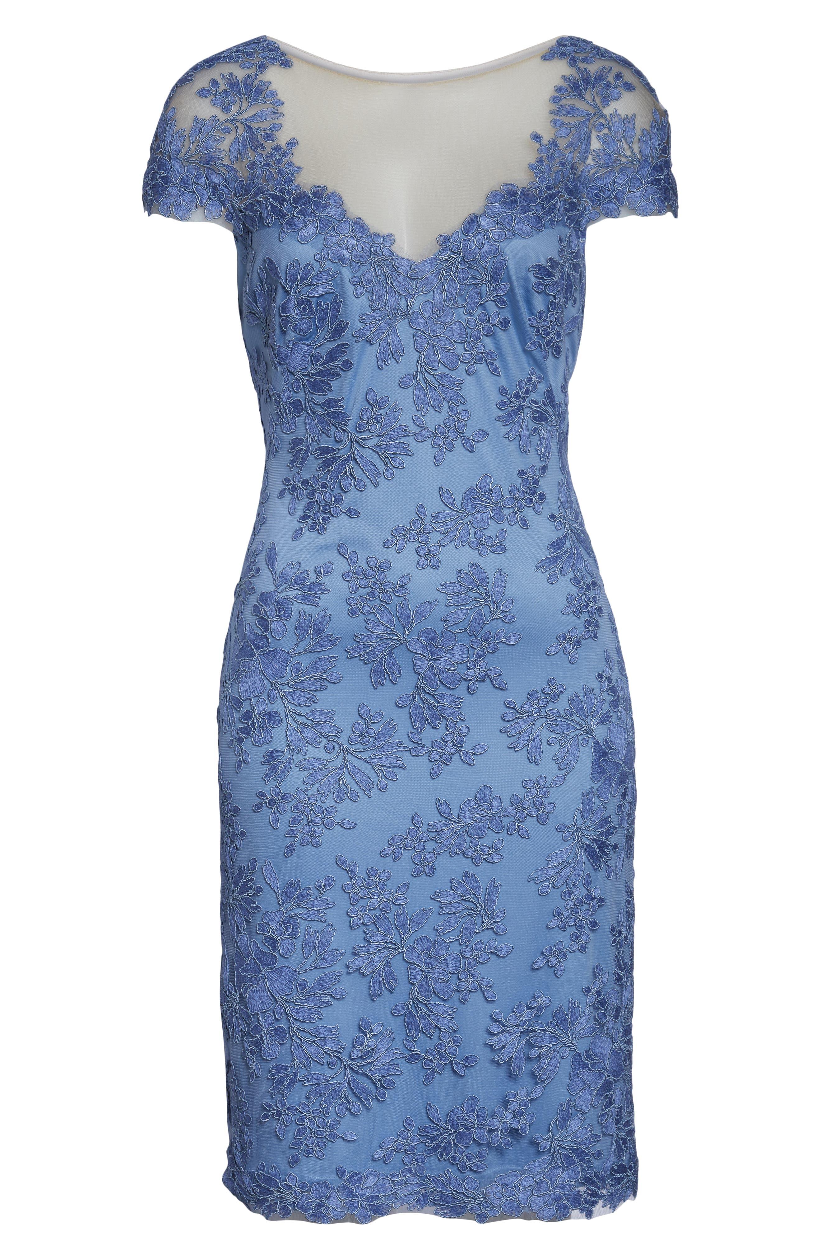 ,                             Corded Lace Sheath Dress,                             Alternate thumbnail 7, color,                             BLUE STONE