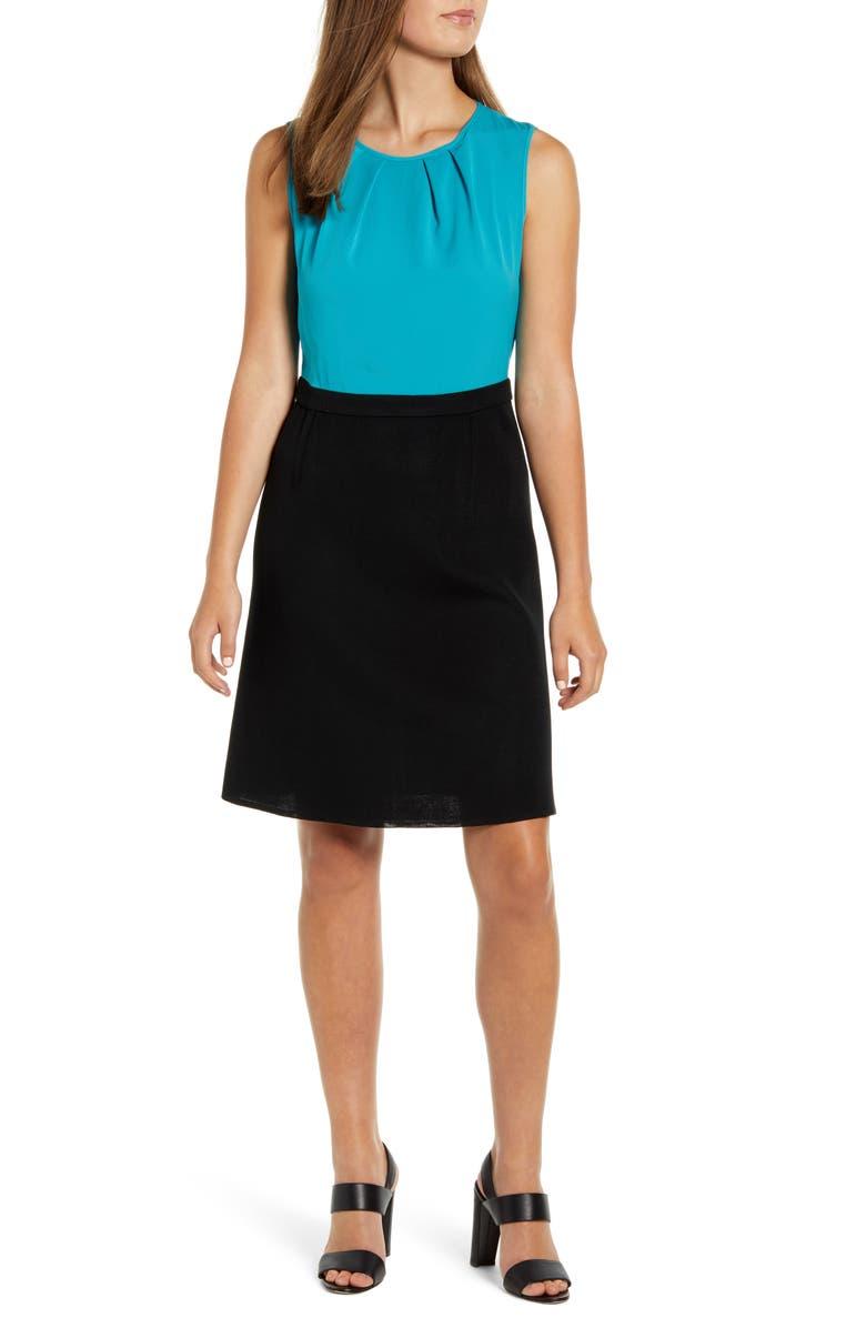 MING WANG Colorblock Sleeveless Dress, Main, color, BERMUDA/ BLACK