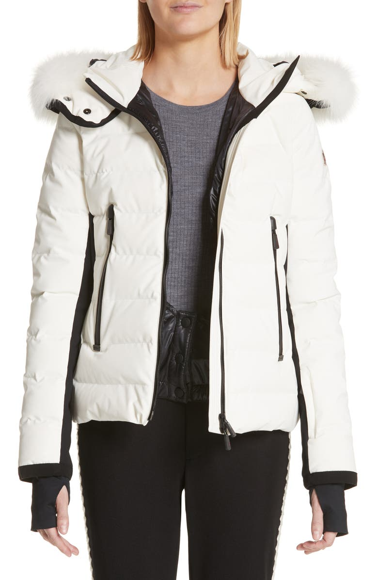 MONCLER Lamoura Quilted Down Puffer Coat with Removable Genuine Fox Fur Trim, Main, color, 102