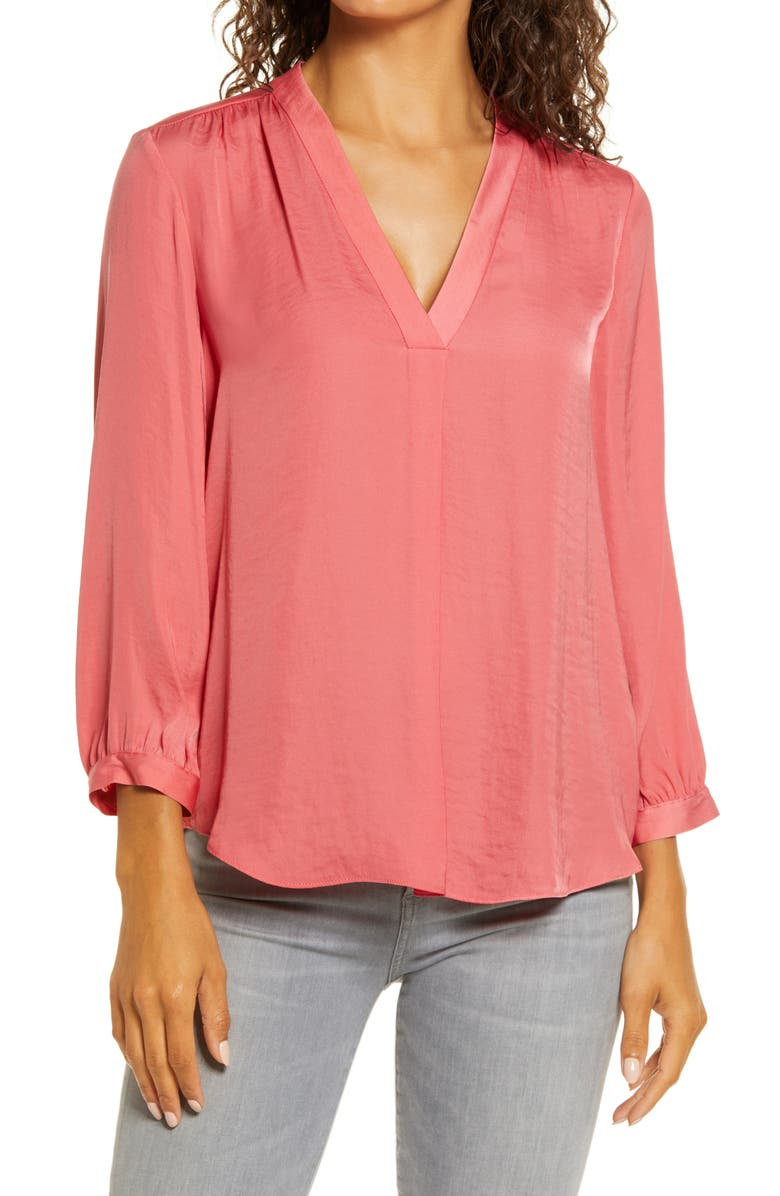 VINCE CAMUTO Rumple Fabric Blouse, Main, color, CORAL BLOSSOM