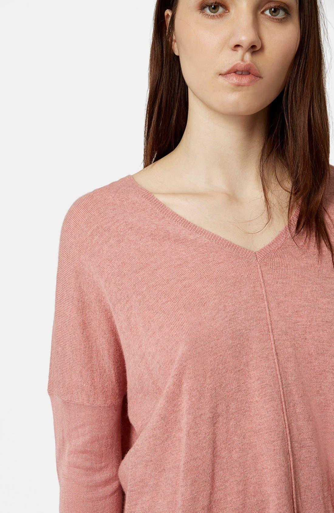 ,                             Front Seam V-Neck Sweater,                             Alternate thumbnail 9, color,                             651