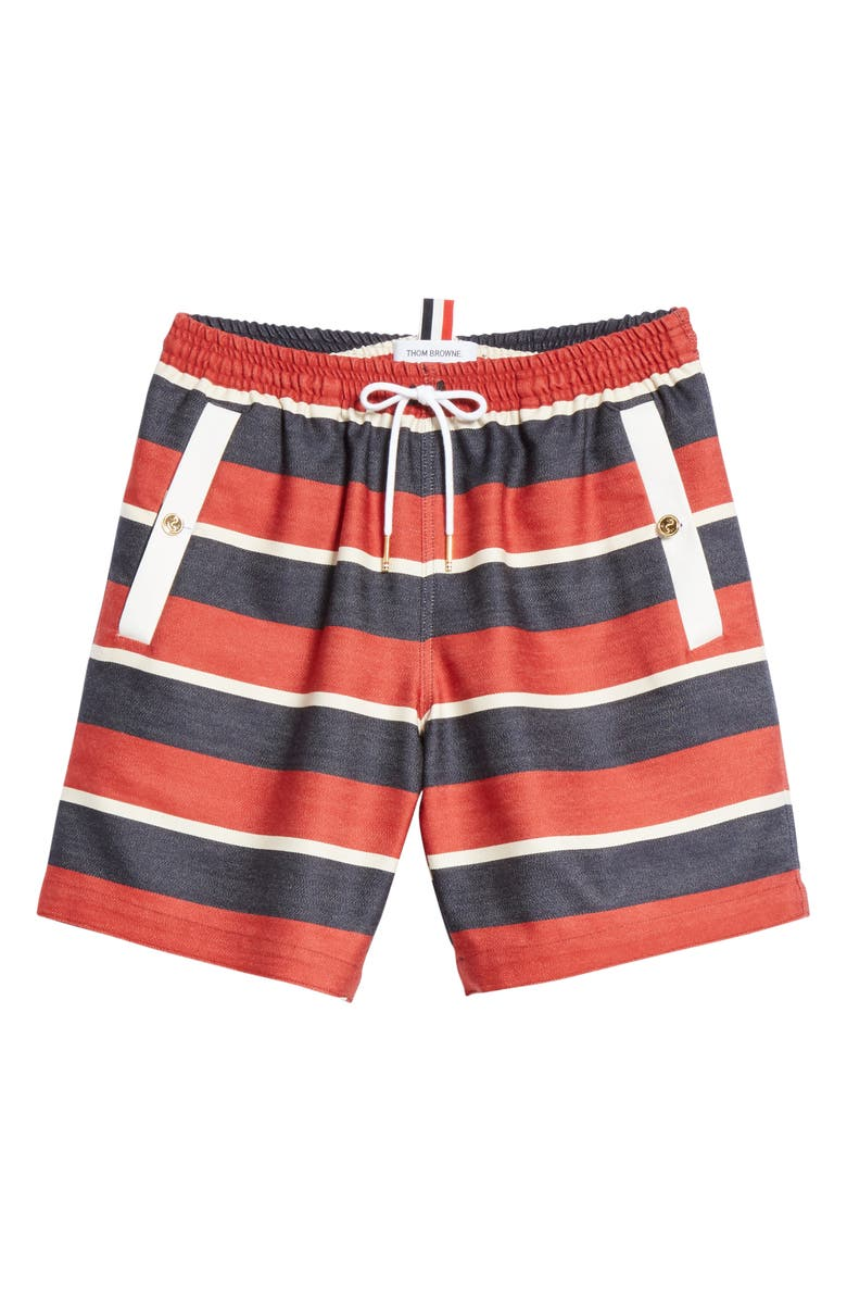 THOM BROWNE Stripe Wool & Cotton Drawstring Shorts, Main, color, Red/White/Blue