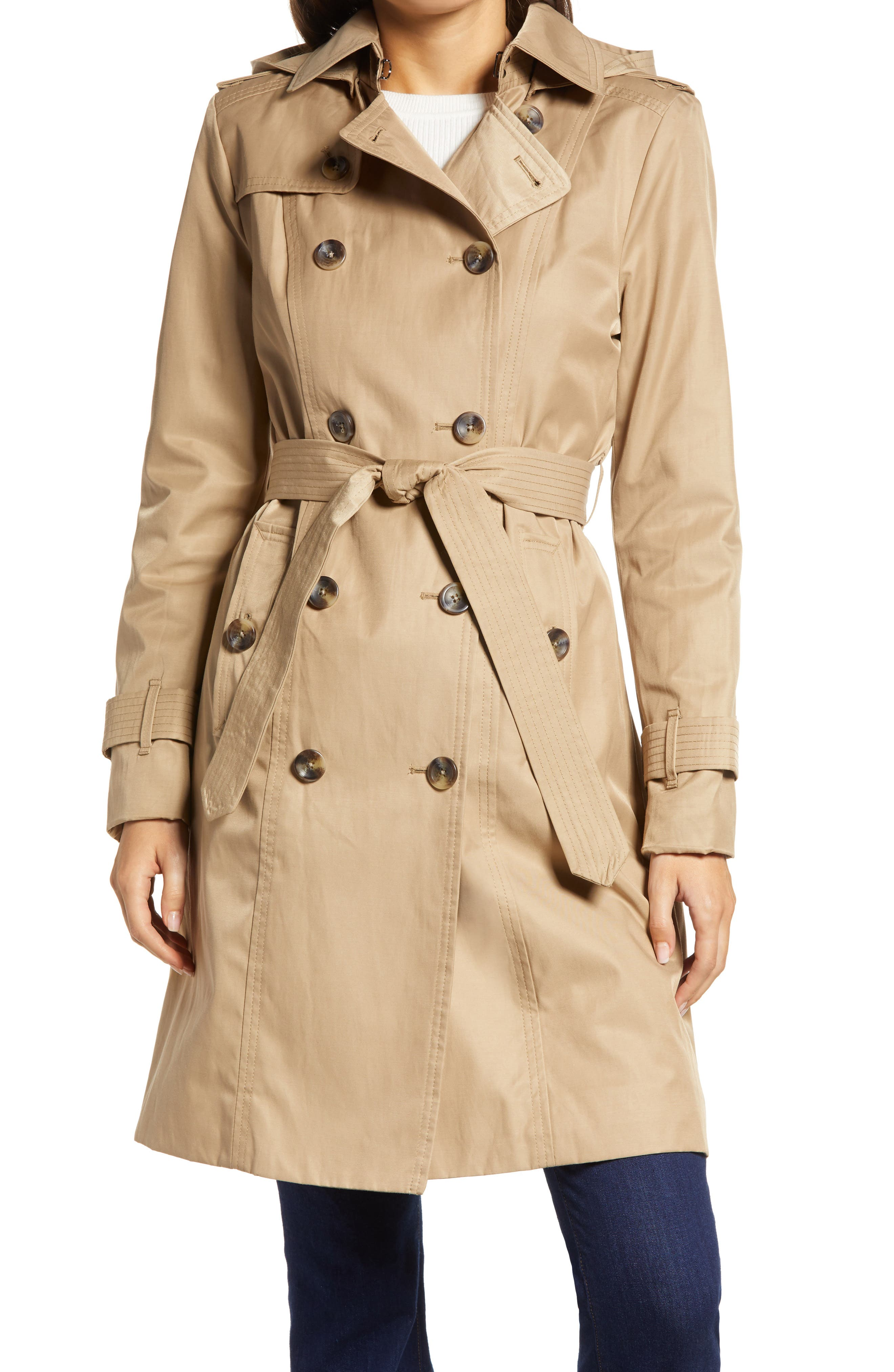 Double Breasted Trench Coat With Removable Hood