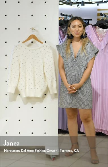 Amby Rhinestone Detail Angora Blend Sweater, sales video thumbnail