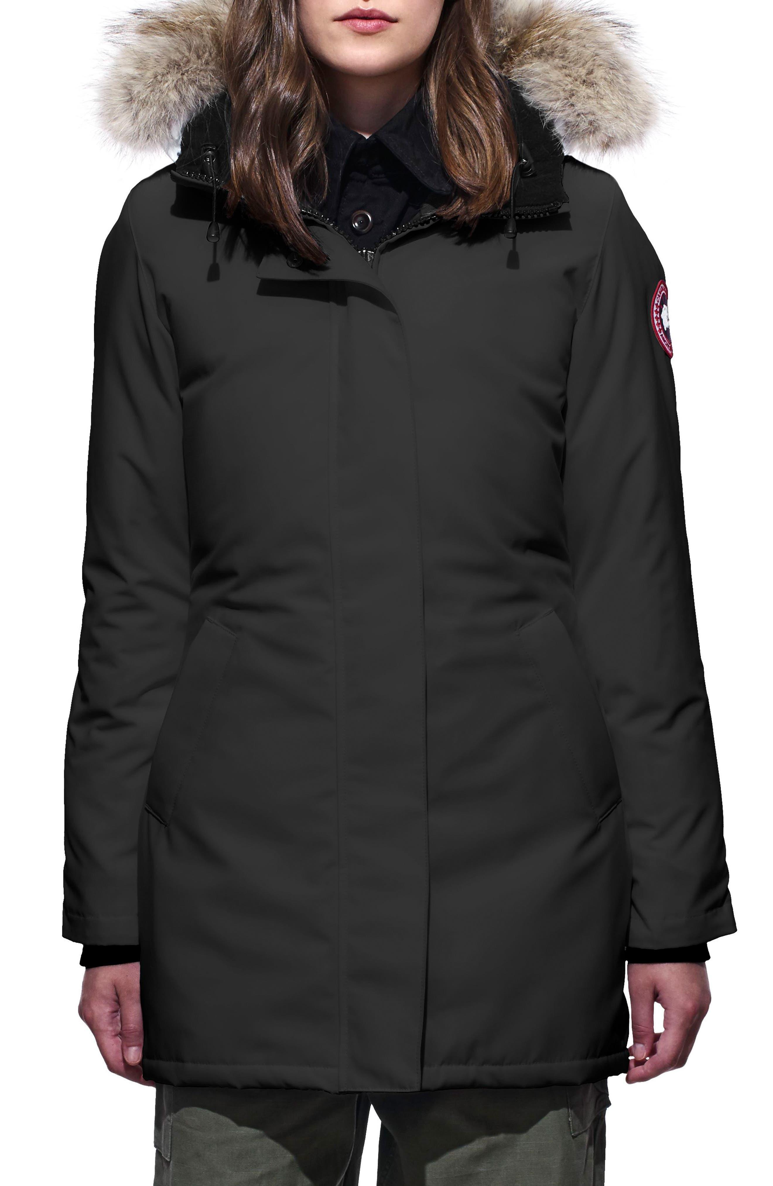 Petite Canada Goose Victoria Fusion Fit Down Parka With Genuine Coyote Fur Trim, P (000-00P) - Black