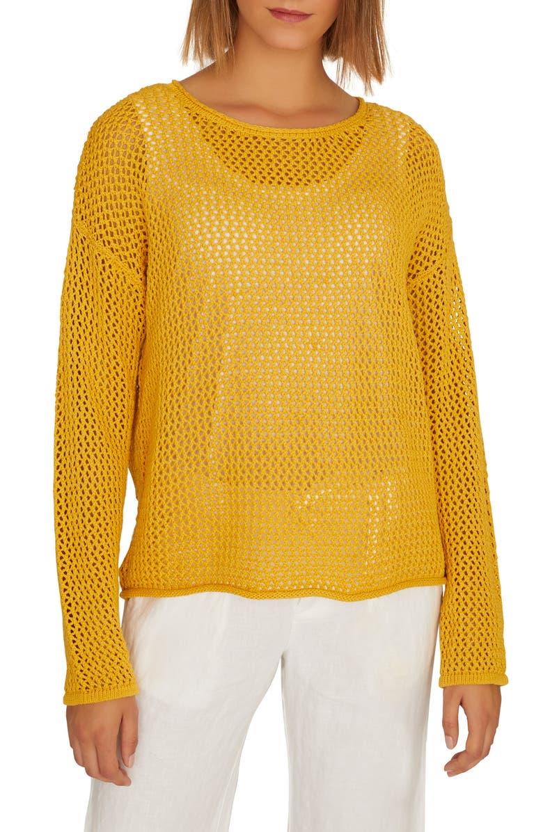 SANCTUARY Soledad Open Stitch Cotton Sweater, Main, color, 702