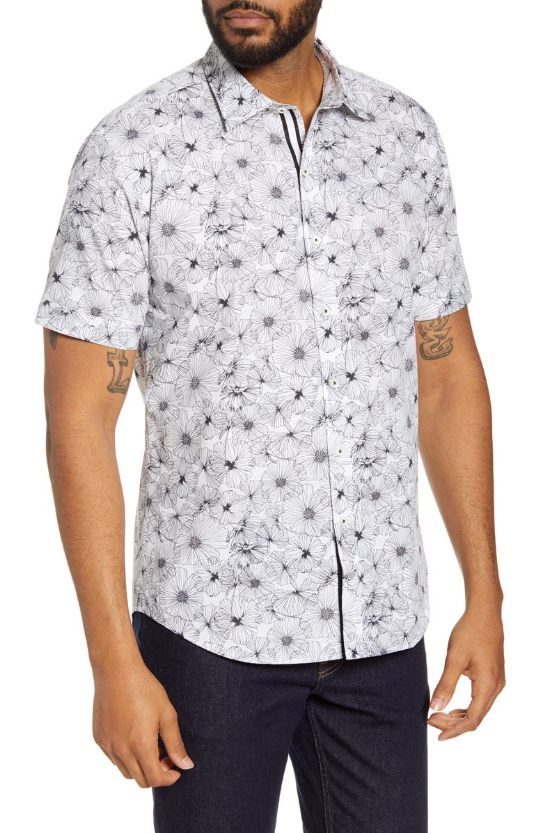 BUGATCHI Shaped Fit Floral Print Button-Up Shirt, Main, color, WHITE