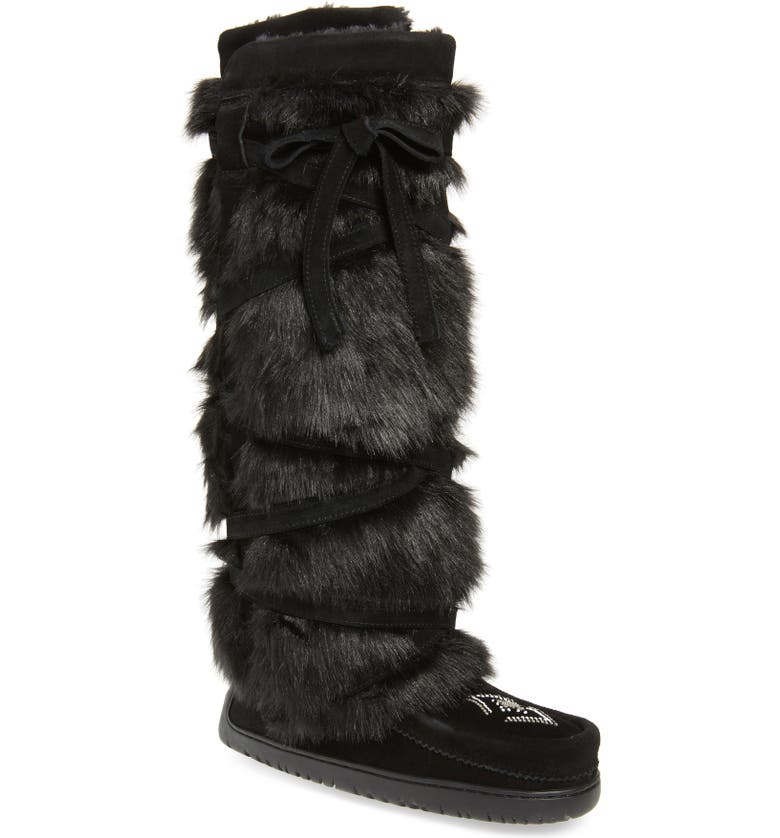 MANITOBAH MUKLUKS Tall Wrap Faux Fur & Shearling Boot, Main, color, BLACK SUEDE