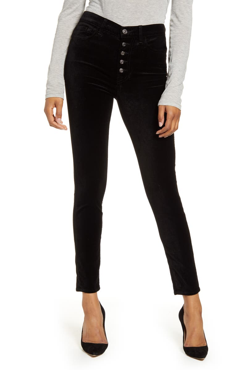 7 FOR ALL MANKIND<SUP>®</SUP> 7 For All Mankind The High Waist Exposed Button Fly Velveteen Ankle Skinny Pants, Main, color, BLACK