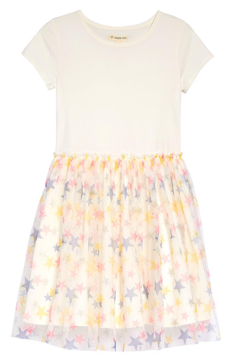 TUCKER + TATE Print Tutu Dress, Main, color, IVORY EGRET CONFETTI STARS