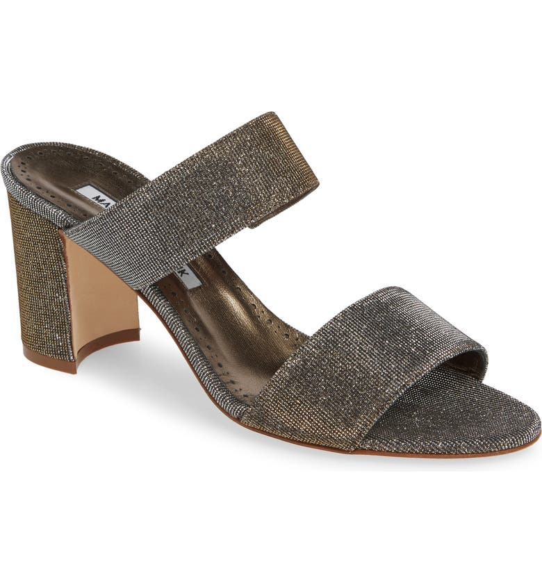MANOLO BLAHNIK Kalita Metallic Slide Sandal, Main, color, BRONZE NOTTURNO