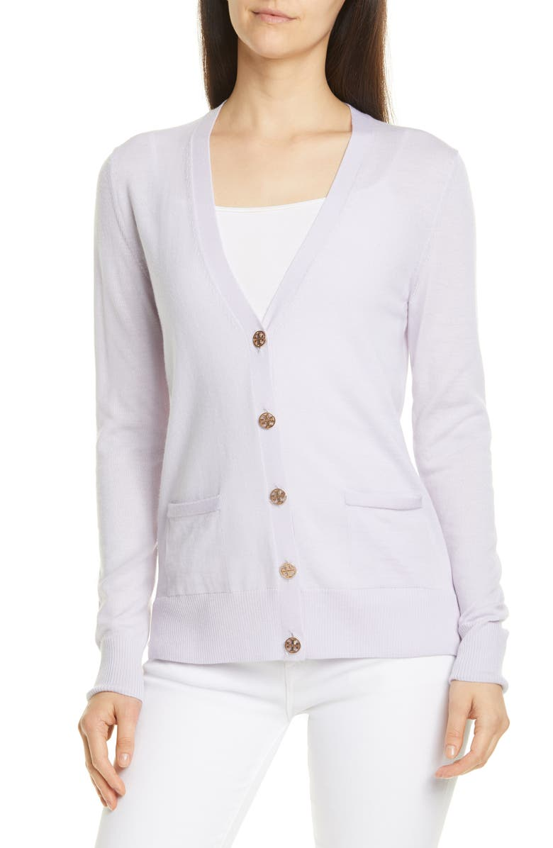 TORY BURCH Madeline Merino Wool Cardigan, Main, color, MOUNTAIN LAVENDER