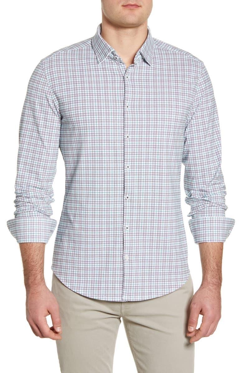 STONE ROSE Slim Fit Plaid Button-Up Performance Shirt, Main, color, 650