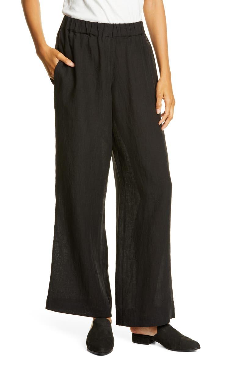 JENNI KAYNE Elastic Waist Linen Pants, Main, color, BLACK