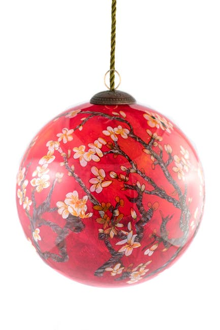 "Image of Overstock Art ""Branches of an Almond Tree in Blossom, Red"" Hand-Painted Glass Ornament"