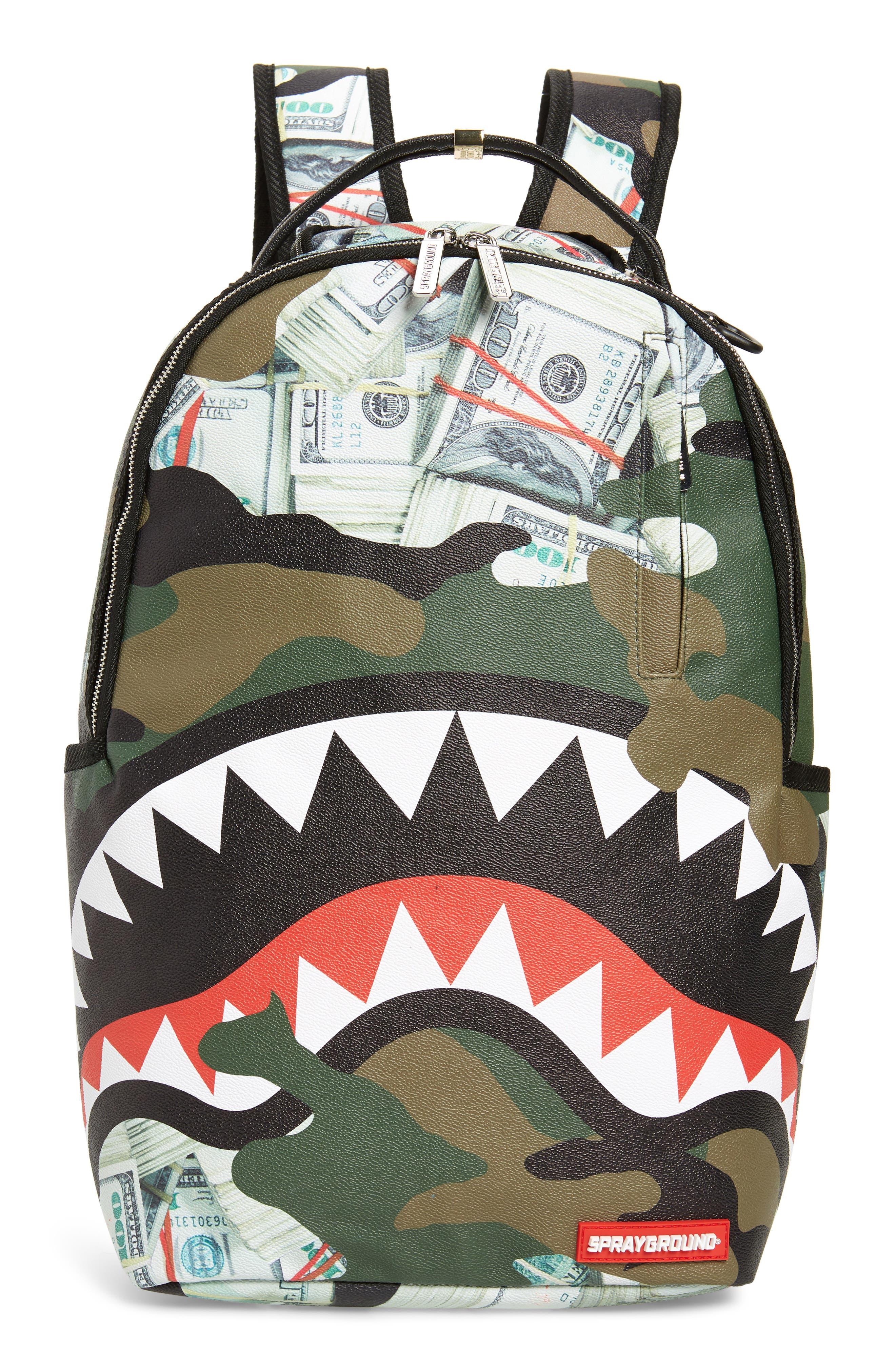 Sprayground Money Camo Shark Faux Leather Backpack - Green