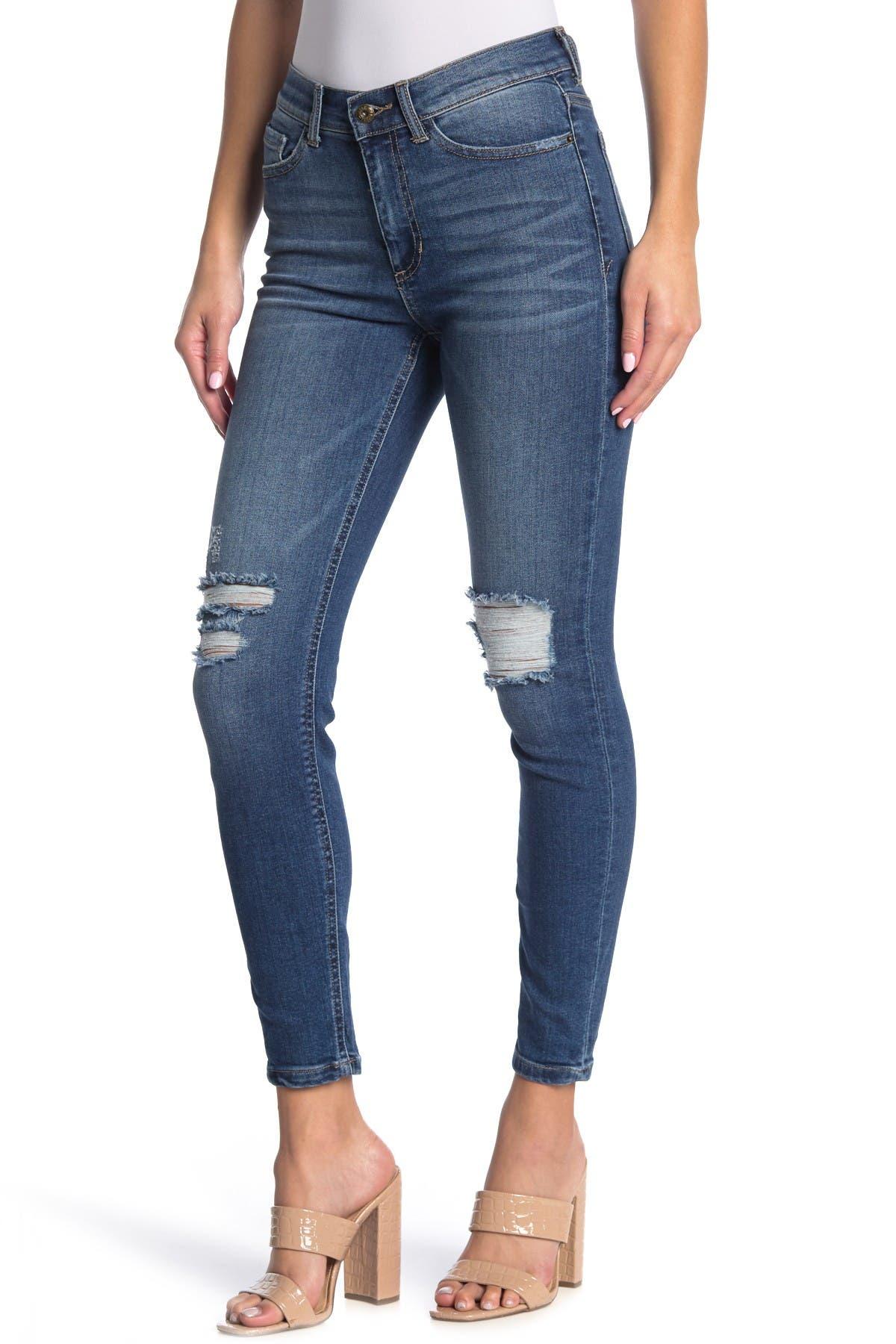 Image of Sneak Peek Denim Distressed Mid Rise Skinny Jeans