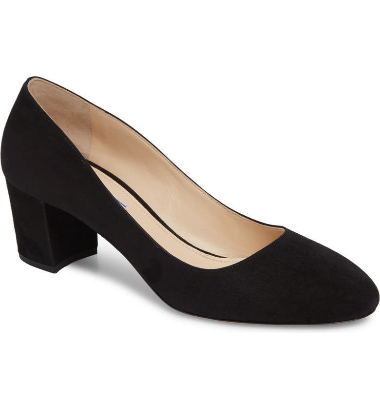 PRADA Round Toe Pump, Main, color, BLACK SUEDE