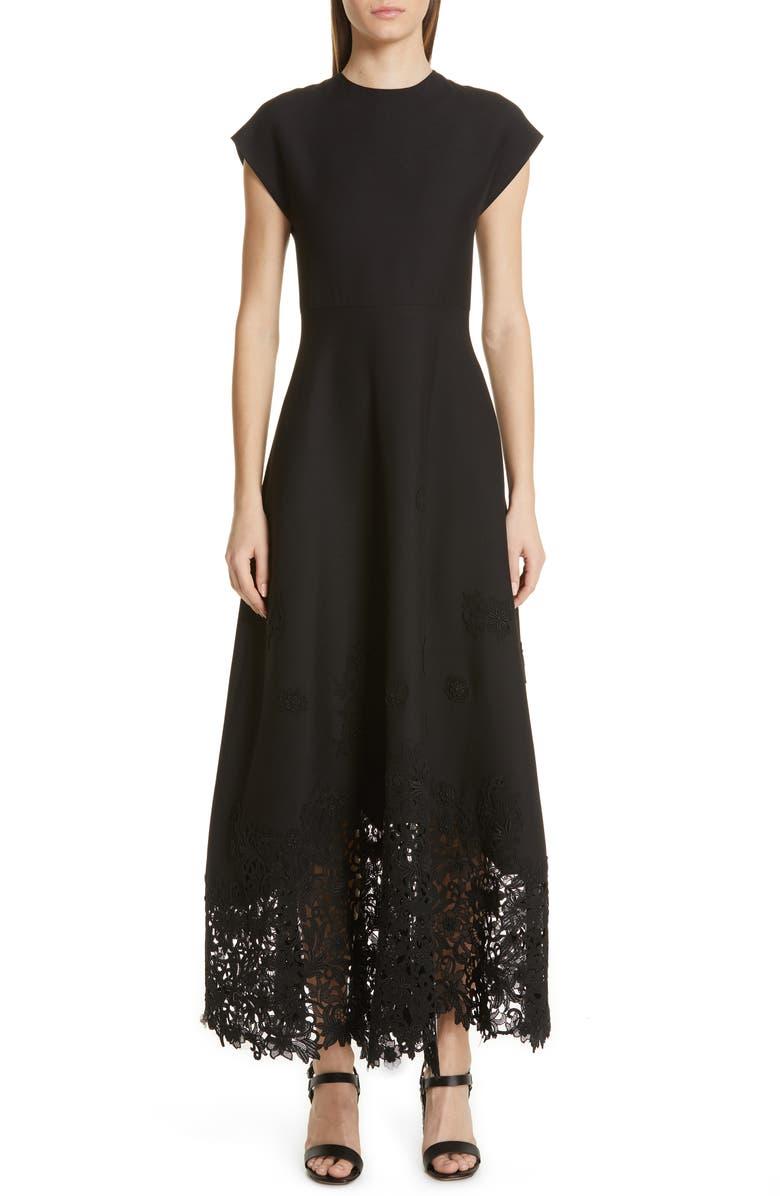 VALENTINO Laser Cut Hem Crepe Couture Dress, Main, color, NERO