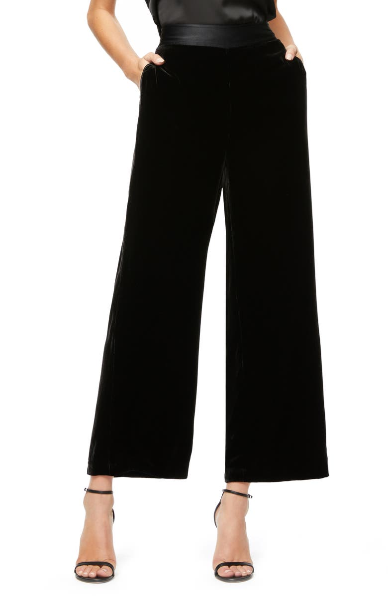 GOOD AMERICAN The Luxe Crop Velvet Pants, Main, color, BLACK001