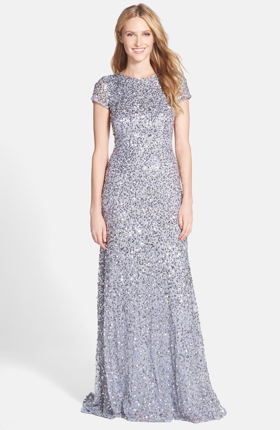 ,                             Short Sleeve Sequin Mesh Gown,                             Main thumbnail 42, color,                             044