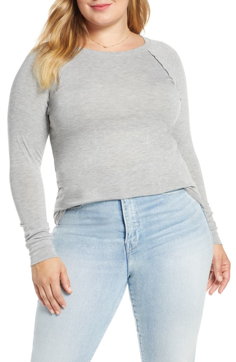 TREASURE & BOND Scoop Neck Raglan Sleeve Top, Main, color, GREY LIGHT HEATHER