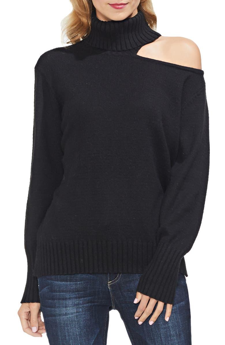 VINCE CAMUTO Asymmetrical Shoulder Cutout Turtleneck Cotton Blend Sweater, Main, color, 006