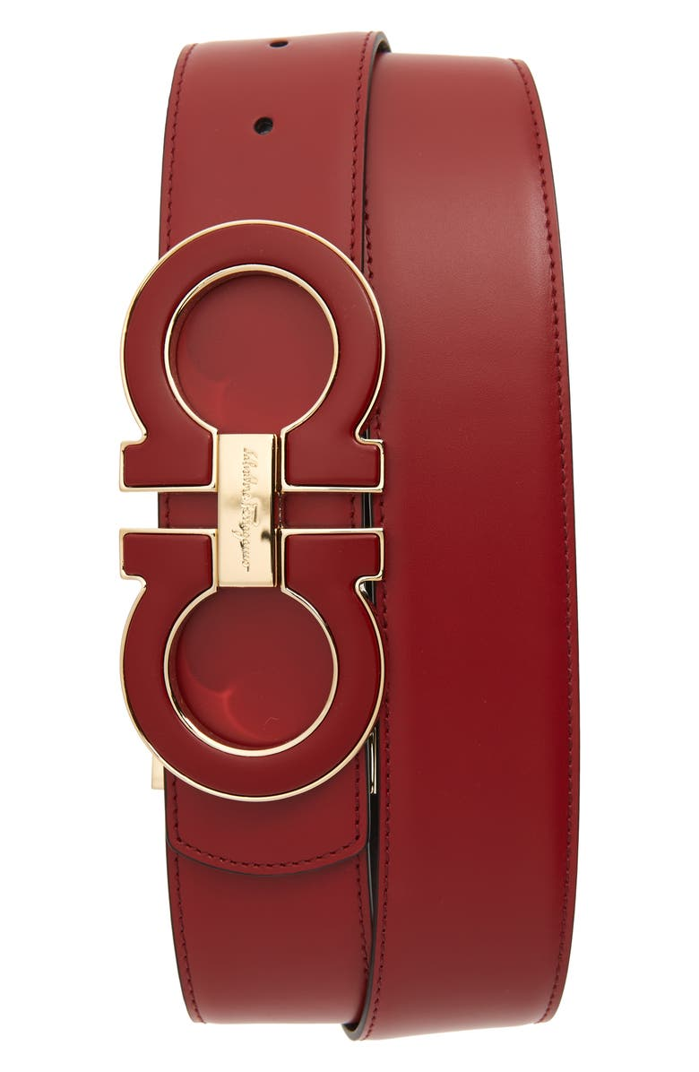 SALVATORE FERRAGAMO Reversible Leather Belt, Main, color, RED/ BLACK