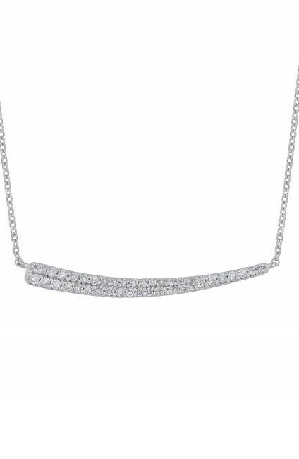 Image of Carriere Sterling Silver Pave Diamond Curved Bar Pendant Necklace - 0.18 ctw