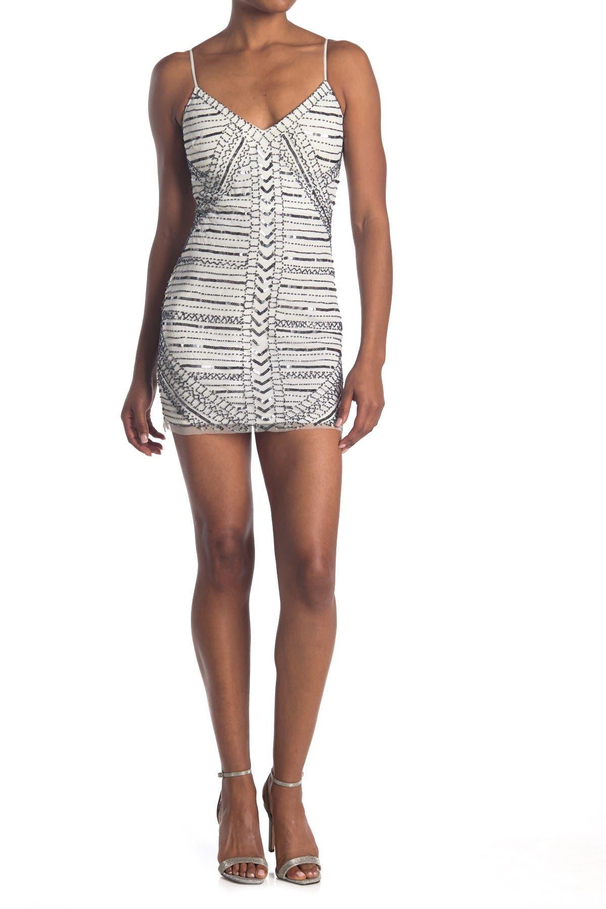Image of JUMP Geo Sequin Beaded Mini Dress