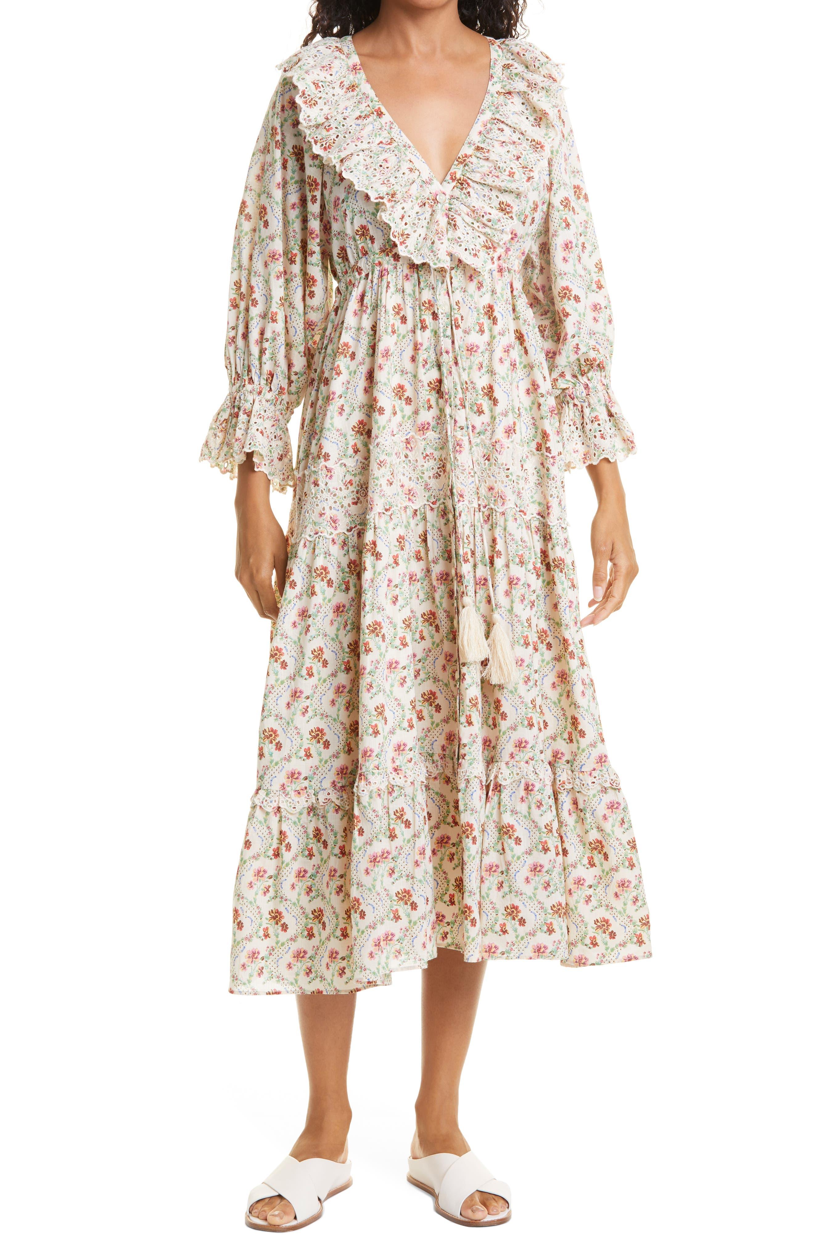 Floral Eyelet Trim Midi Dress