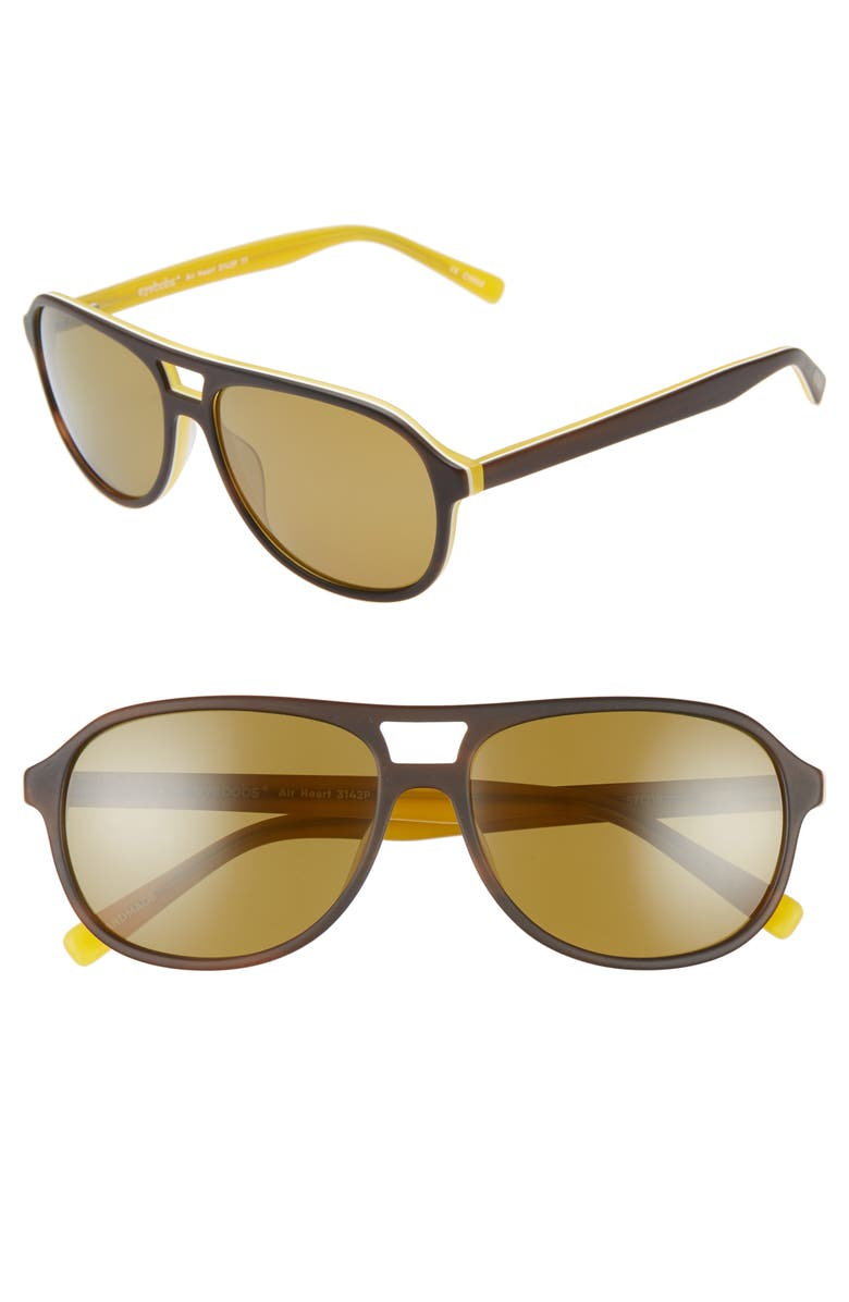 EYEBOBS Air Heart 56mm Polarized Aviator Sunglasses, Main, color, BROWN WITH YELLOW