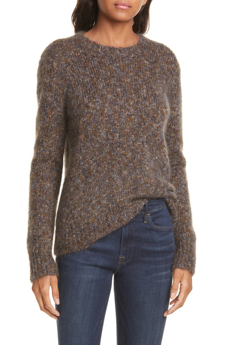 NORDSTROM SIGNATURE Crewneck Mohair Blend Sweater, Main, color, MARLED GREY/ GREEN