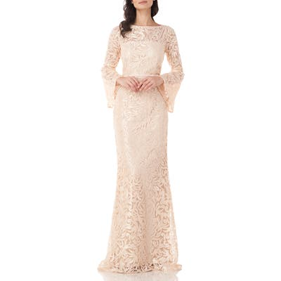 Carmen Marc Valvo Infusion Sequin Embroidered Trumpet Gown, Beige