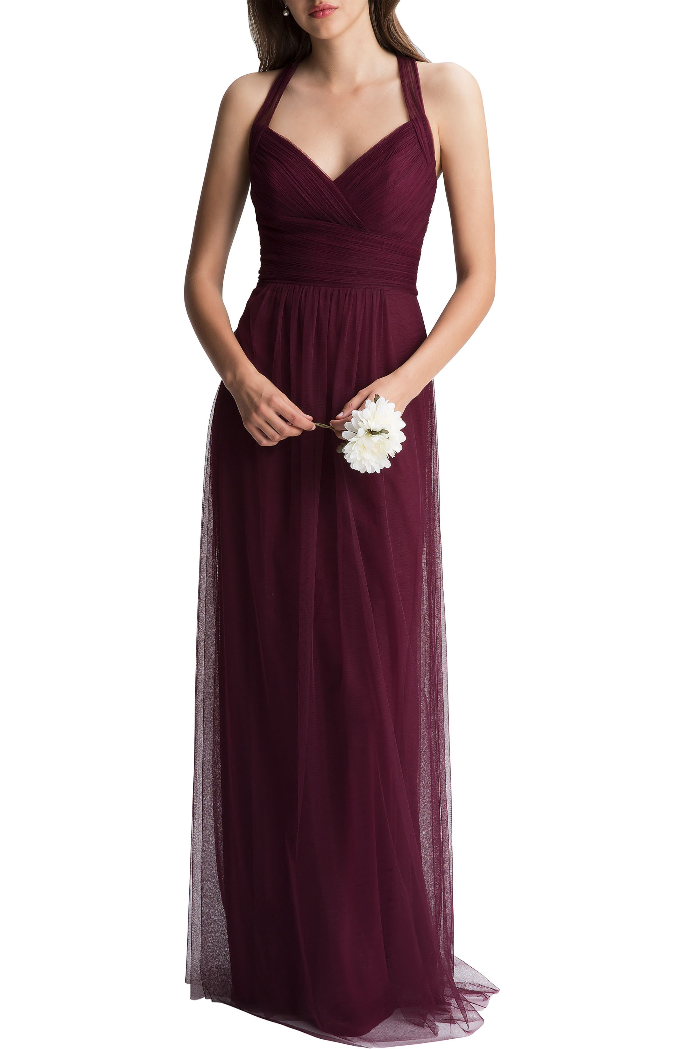 #levkoff Crisscross Strap English Net A-Line Gown, Red