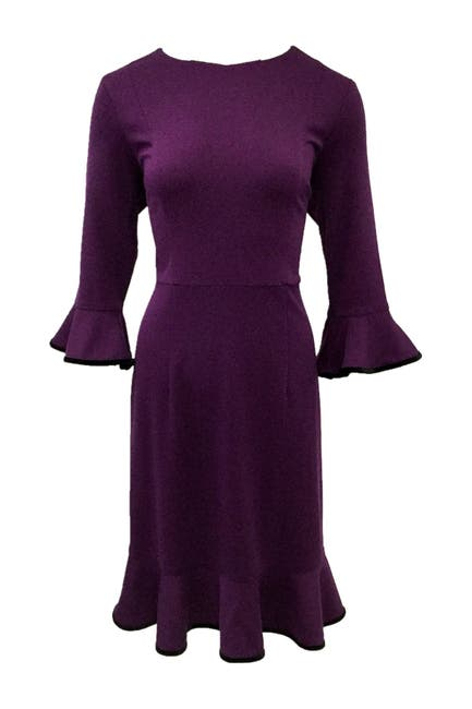 Image of NANETTE nanette lepore Ruffle Velvet Trim Knit Dress