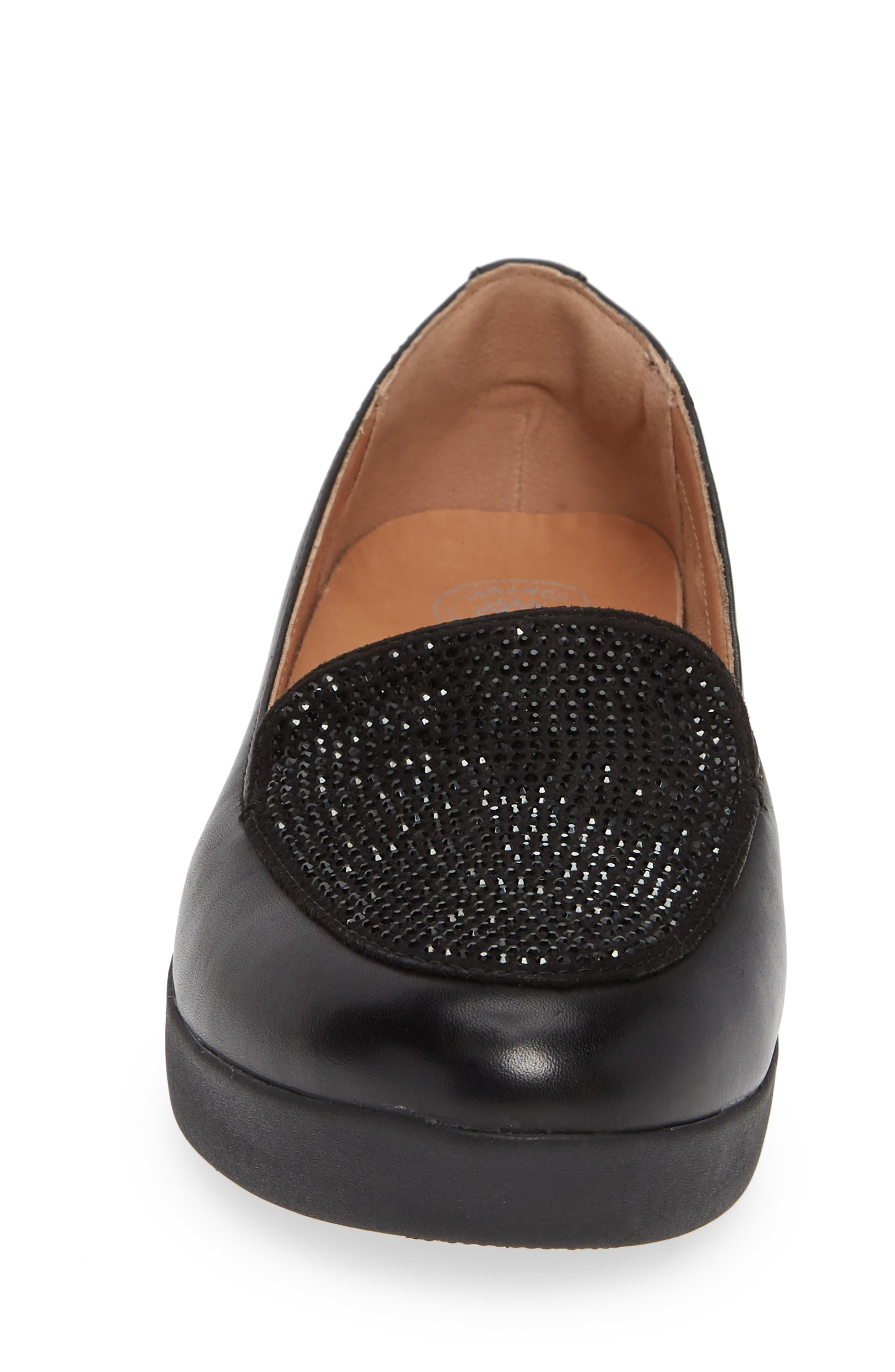 ,                             Crystal Embellished Sneakerloafer Slip-On,                             Alternate thumbnail 4, color,                             BLACK FABRIC