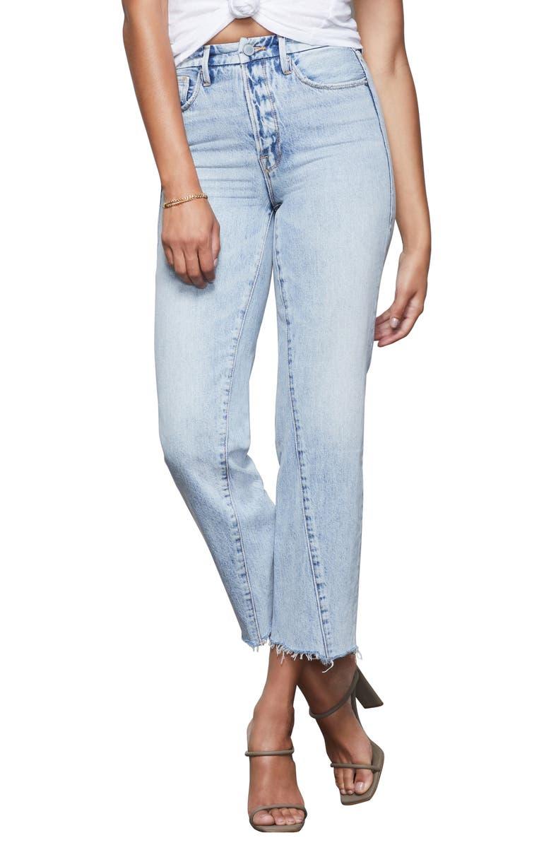 GOOD AMERICAN Good Vintage Twisted Seam Straight Leg Jeans, Main, color, BLUE361