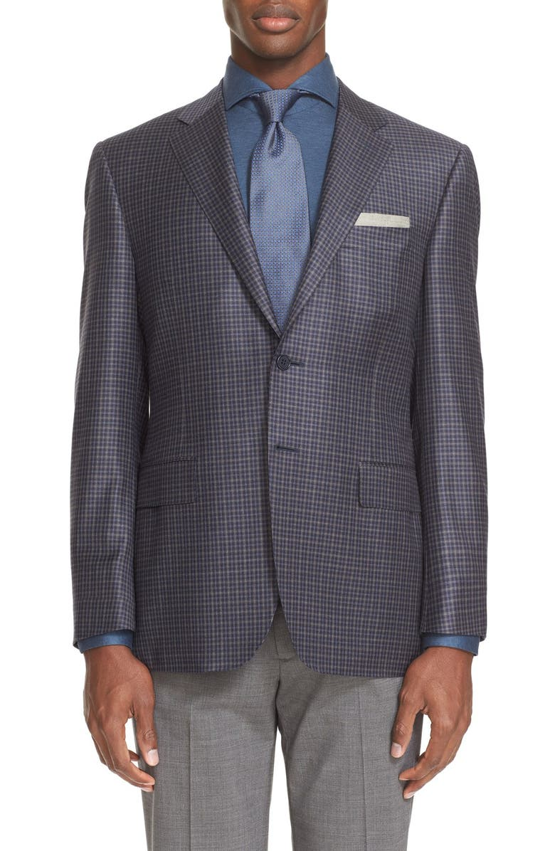 CANALI Classic Fit Check Wool Sport Coat, Main, color, 404