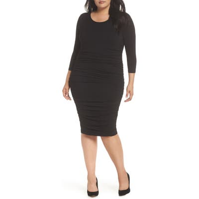 Plus Size Vince Camuto Ruched Body-Con Dress, Black