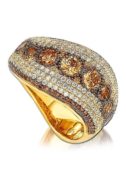 Image of Suzy Levian 14K Gold Plated Sterling Silver Chocolate & White CZ Ring
