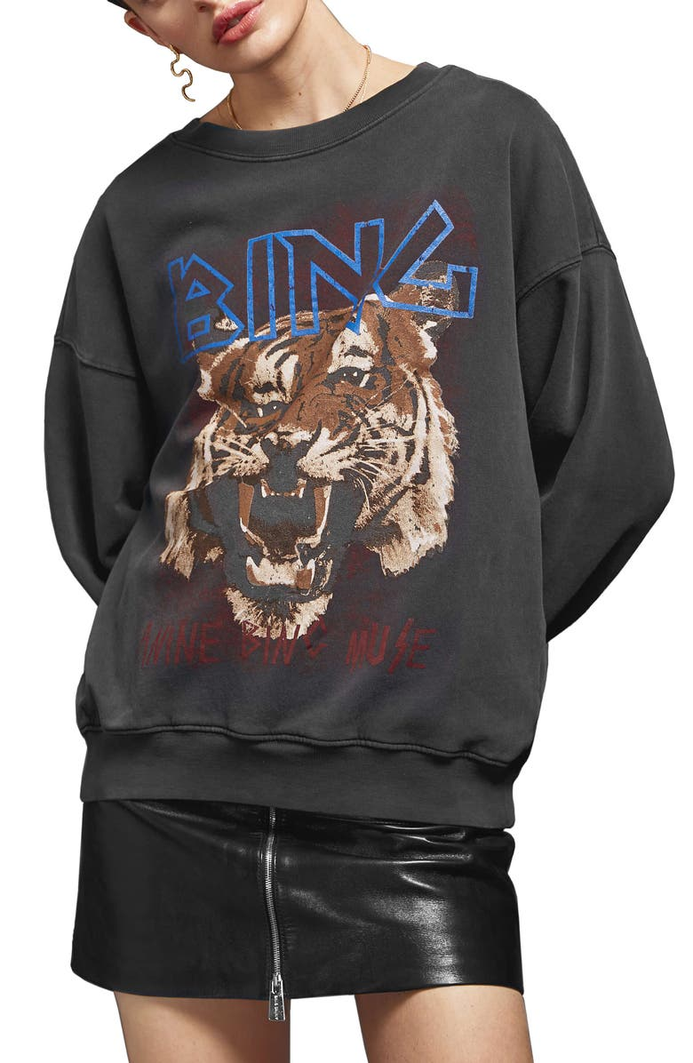 ANINE BING Tiger Sweatshirt, Main, color, BLACK