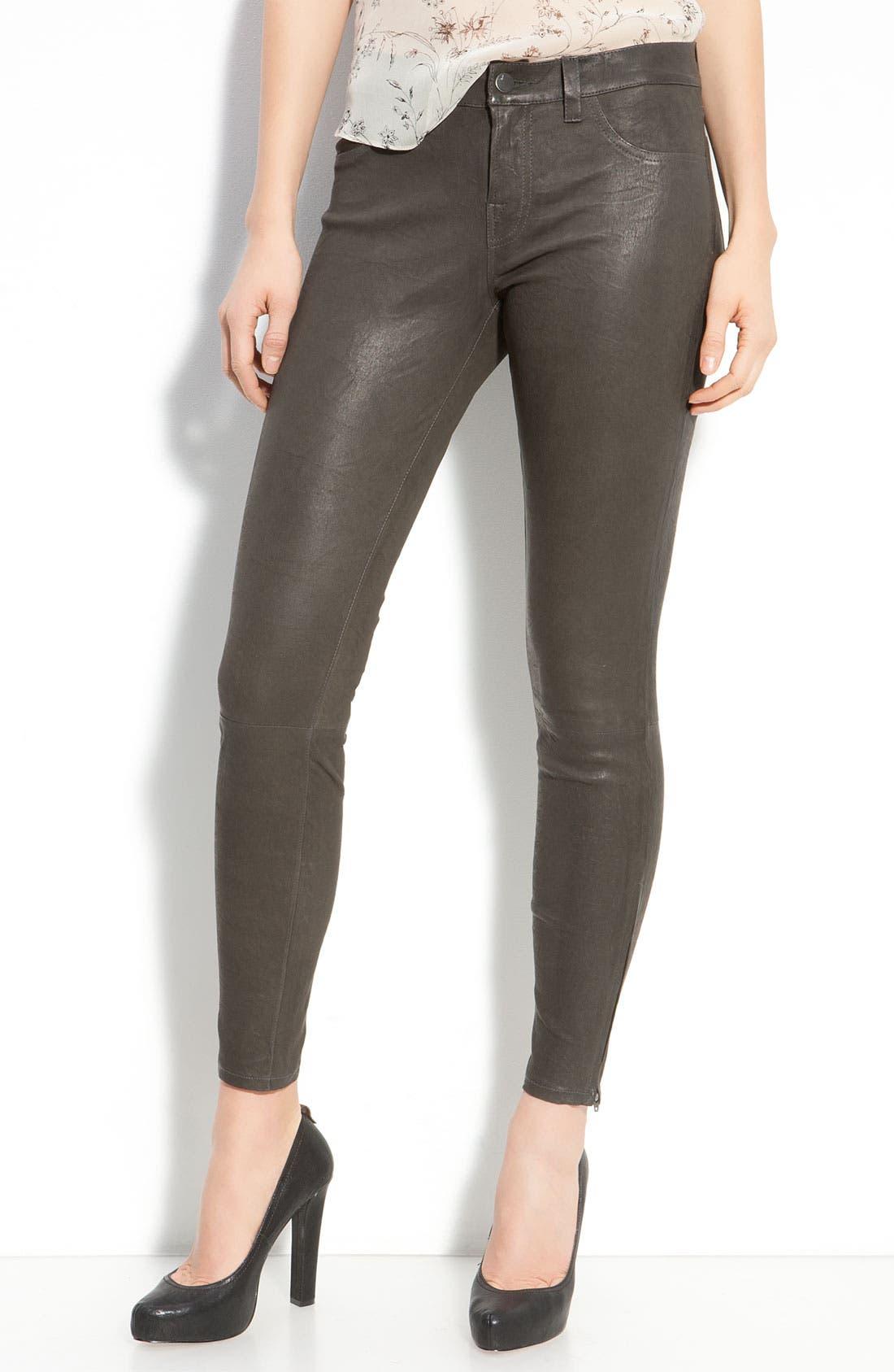 ,                             '8001' Lambskin Leather Pants,                             Main thumbnail 36, color,                             020