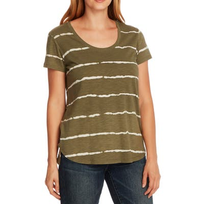 Vince Camuto Linear Whispers Cotton Blend T-Shirt, Green