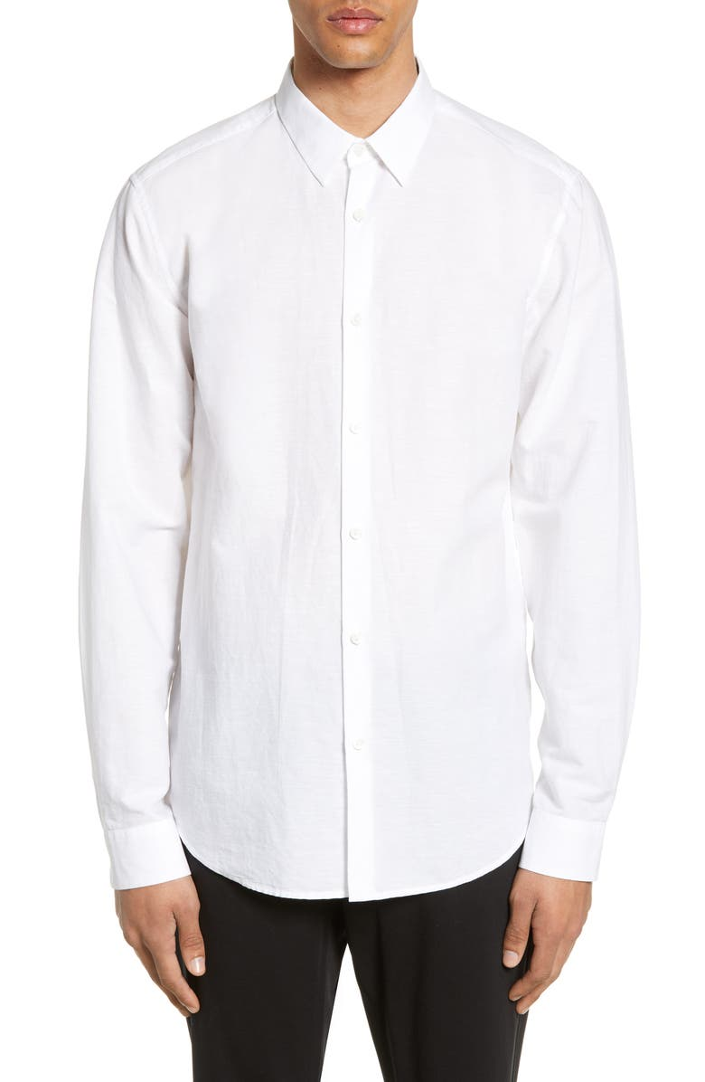 THEORY Irving Slim Fit Linen Blend Shirt, Main, color, 100