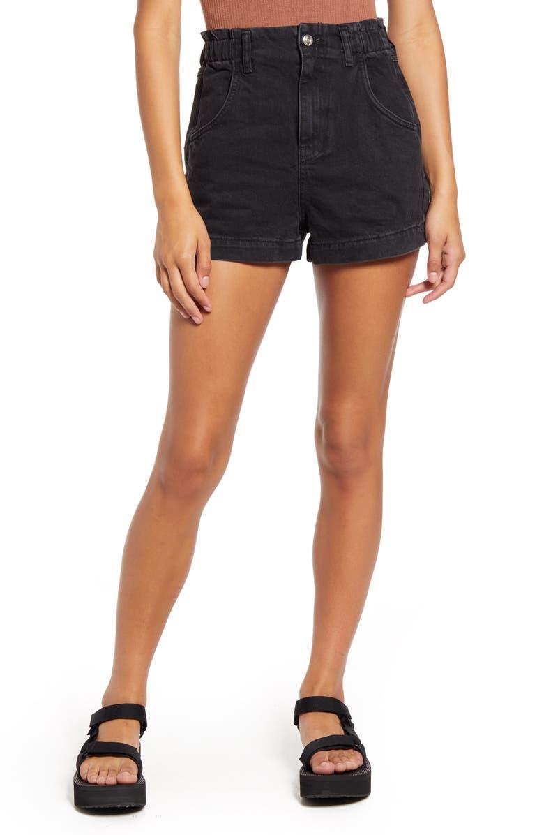 TOPSHOP Paperbag High Waist Nonstretch Denim Shorts, Main, color, WASHED BLACK