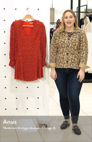 Polly Red Leopard Print Long Sleeve Fit & Flare Dress, sales video thumbnail